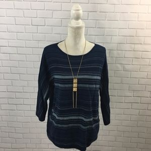 Dropped Shoulder Blue Striped Chaps Sweater
